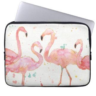 Tropical   Gathering of Flamingos Laptop Sleeve