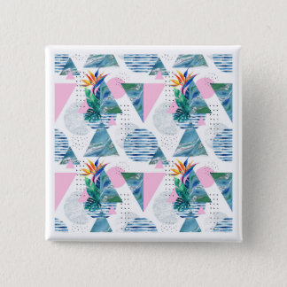 Tropical Geometric Pattern 15 Cm Square Badge