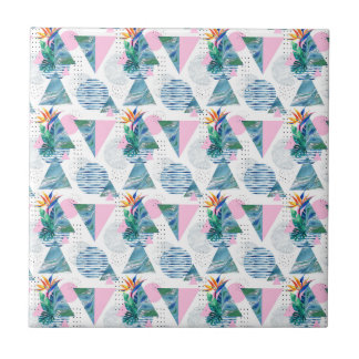 Tropical Geometric Pattern Ceramic Tile