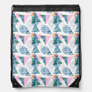 Tropical Geometric Pattern Drawstring Bag