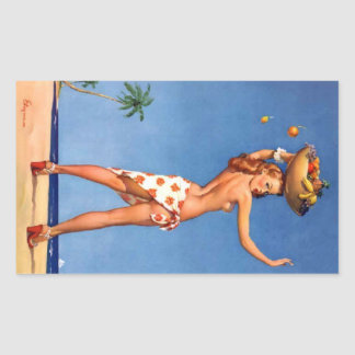 Tropical Girl Pin Up Rectangular Sticker