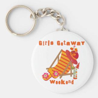 Tropical Girls Getaway Weekend Basic Round Button Key Ring