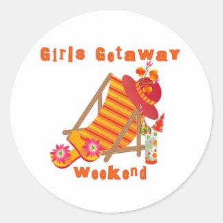 Tropical Girls Getaway Weekend Round Sticker