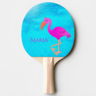 Tropical girly and pink flamingo on blue sea ping pong paddle