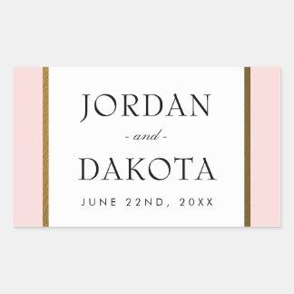 Tropical Gold Flowers on Pink | Exotic Wedding Rectangular Sticker