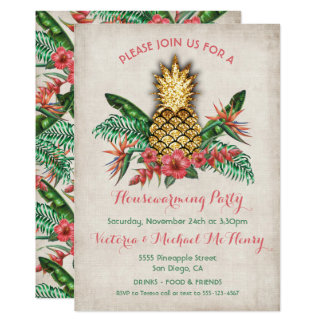 Tropical Golden Pineapple Housewarming Party Card