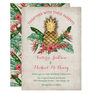 Tropical Golden Pineapple Wedding Invitation