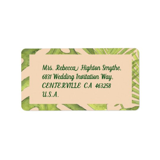 Tropical Green and Blush Wedding Label