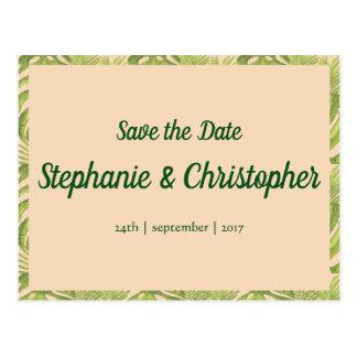 Tropical Green and Blush Wedding Postcard