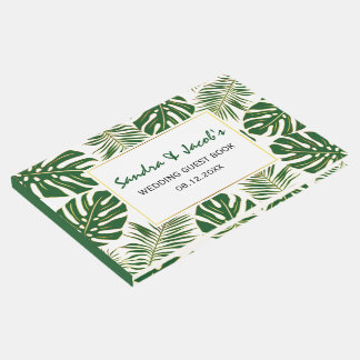 Tropical green and gold leaves modern wedding guest book