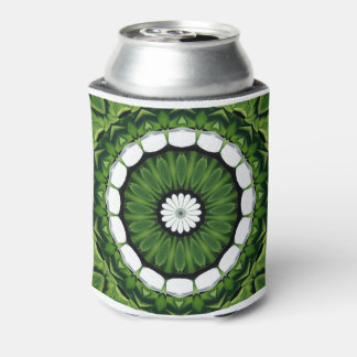 Tropical Green and White Flora Mandala Can Cooler