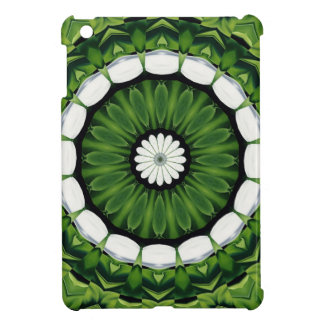 Tropical Green and White Flora Mandala Cover For The iPad Mini
