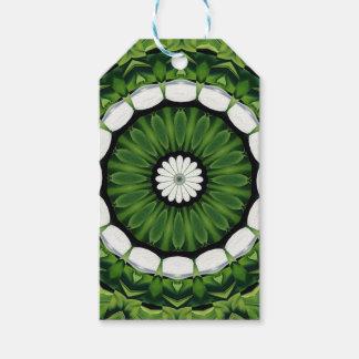 Tropical Green and White Flora Mandala Gift Tags