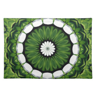 Tropical Green and White Flora Mandala Placemat