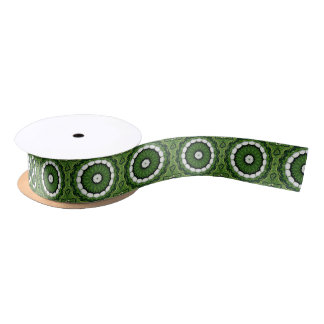 Tropical Green and White Flora Mandala Satin Ribbon
