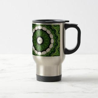 Tropical Green and White Flora Mandala Travel Mug