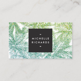 tropical greenaqua glitter palms business card