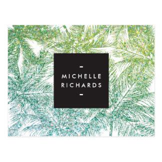 Tropical Green/Aqua Glitter Palms Postcard