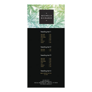 Tropical Green/Aqua Glitter Palms Rack Card