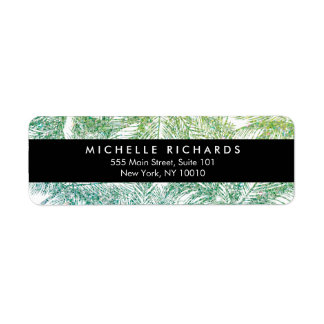 Tropical Green/Aqua Glitter Palms Return Address Label
