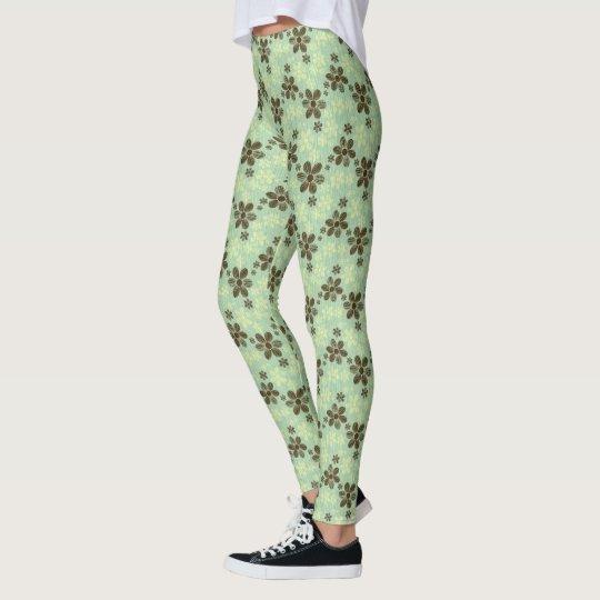 Tropical Green Floral Leggings