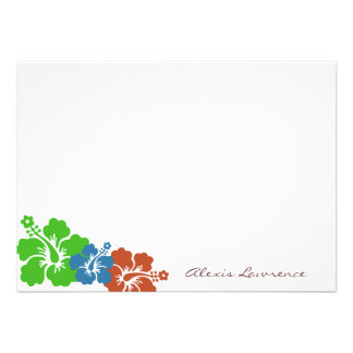 Tropical green hibiscus flowers custom stationery personalized invite