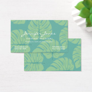 Tropical Green Leaf Personal Assistant Business Business Card