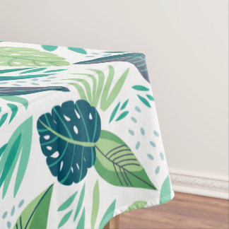 Tropical Green Leafs Botanical Pattern Tablecloth