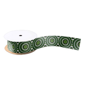 Tropical Green Mandala Satin Ribbon