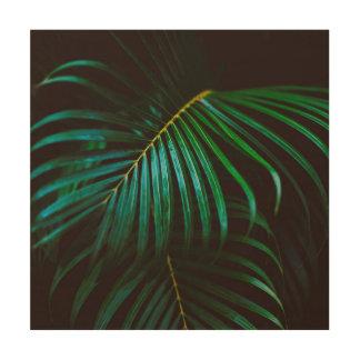 Tropical Green Palm Leaf Relaxing, Meditative Wood Print