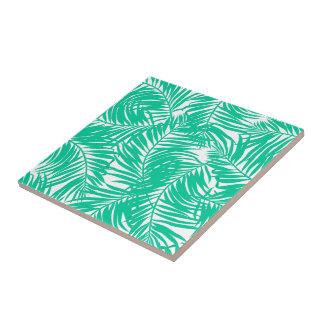 Tropical green palm leaves ceramic tile