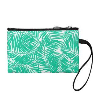 Tropical green palm leaves coin purse