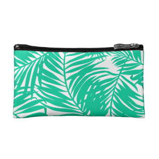 Tropical green palm leaves cosmetic bag