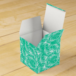 Tropical green palm leaves favour box