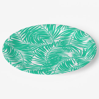 Tropical green palm leaves paper plate