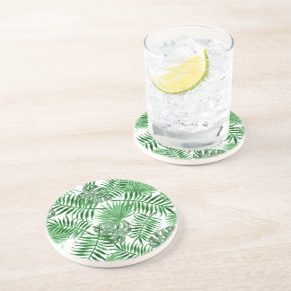 Tropical Green Palm Leaves Summer Pattern Drink Coaster