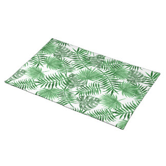 Tropical Green Palm Leaves Summer Pattern Placemat
