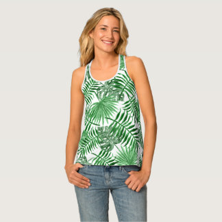 Tropical Green Palm Leaves Summer Pattern Singlet