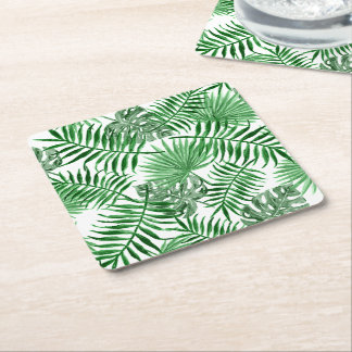 Tropical Green Palm Leaves Summer Pattern Square Paper Coaster
