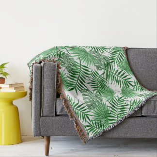 Tropical Green Palm Leaves Summer Pattern Throw Blanket