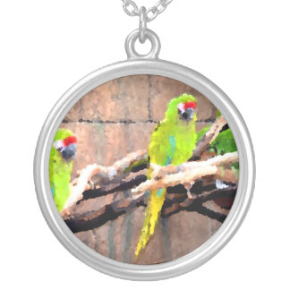tropical green parrots painted look personalized necklace