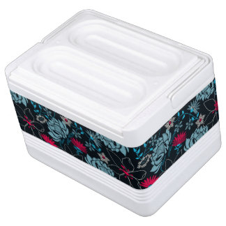 Tropical green printed embroidery floral cooler