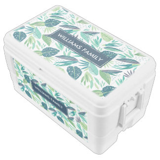 Tropical Green Summer Leafs Seamless Pattern Ice Chest