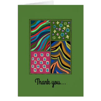 Tropical Green Tapestry Thank You Note Card