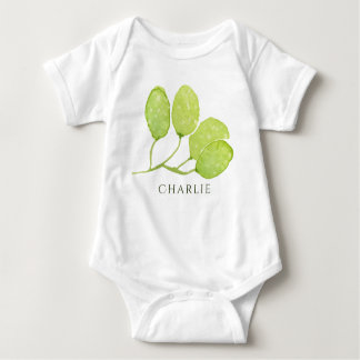 TROPICAL GREEN WATERCOLOUR FOLIAGE LEAF  MONOGRAM BABY BODYSUIT
