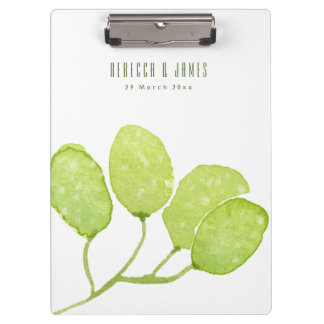 TROPICAL GREEN WATERCOLOUR FOLIAGE LEAF  MONOGRAM CLIPBOARD