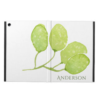 TROPICAL GREEN WATERCOLOUR FOLIAGE LEAF  MONOGRAM iPad AIR COVER