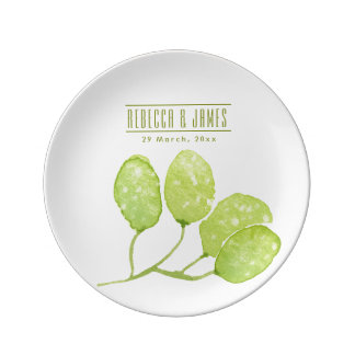 TROPICAL GREEN WATERCOLOUR FOLIAGE LEAF  MONOGRAM PLATE