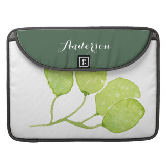 TROPICAL GREEN WATERCOLOUR FOLIAGE LEAF  MONOGRAM SLEEVE FOR MacBook PRO