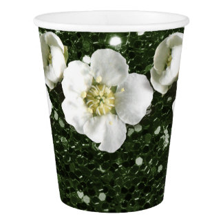 Tropical Greenery Cali Glitter Flower Jasmin Paper Cup